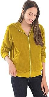 Dawwoti Women's Hooded Suede Coat Plush Fuzzy Zipper Casual Outwear