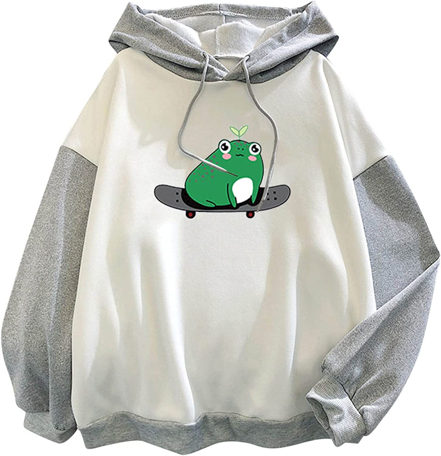 Kanzd Sweatshirts for Girls Women Cute Frog Hoodie Long Sleeve Casual Color Block Patchwork Loose fit Top Blouse Pullover