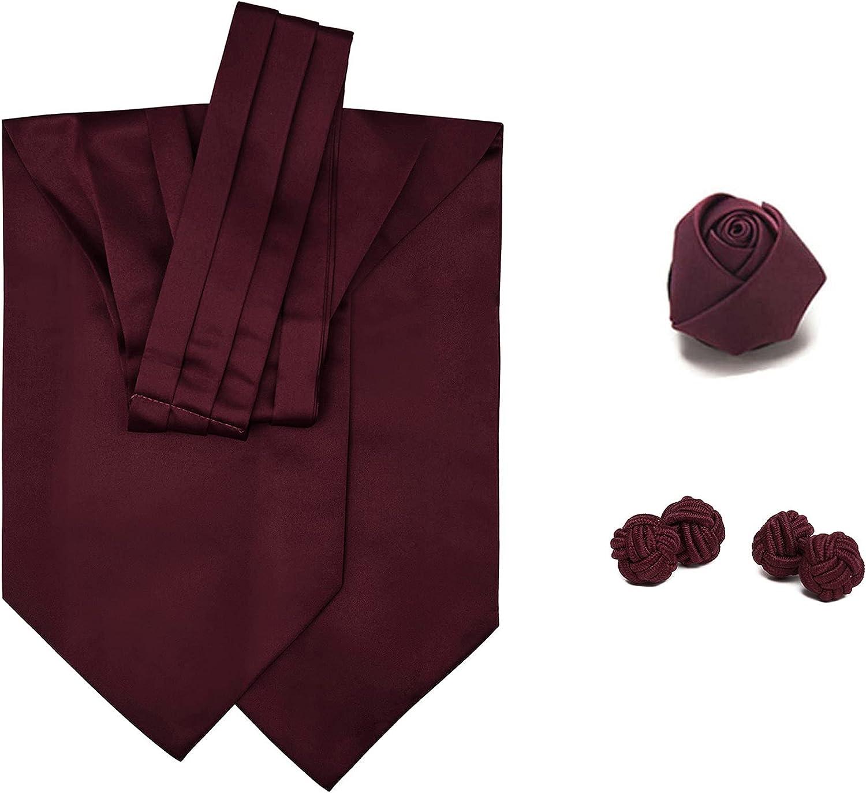 3 Piece Set: Jacob Alexander Men's Solid Color Cravat Ascot Neck Tie Rose Lapel Flower and Cufflinks