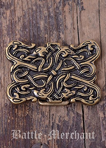 Battle Merchant Cinturón Hebilla-Serpiente Wesen en wikingerzeitlichen Urnes Estilo de Larp gürtelschließe Vikingo Medieval Plata o Bronce, marrón