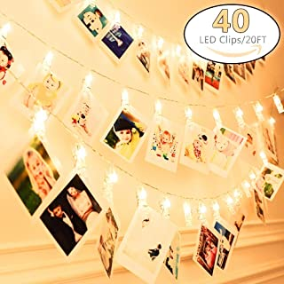 20Ft Battery Operated Indoor and Outdoor String Lights| with 40 LED Warm White Photo Clips| to Hang hold Photos, Artwork & Christmas Cards