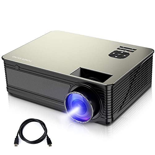 Video Projector, PONER SAUND Mini Projector 3000 Lux with 50,000 Hrs, 190 inch Home Theater Movie Projector, 1080P Supported, Compatible with Ipad, HDMI, VGA, TF, USB, Chromecast (Black)