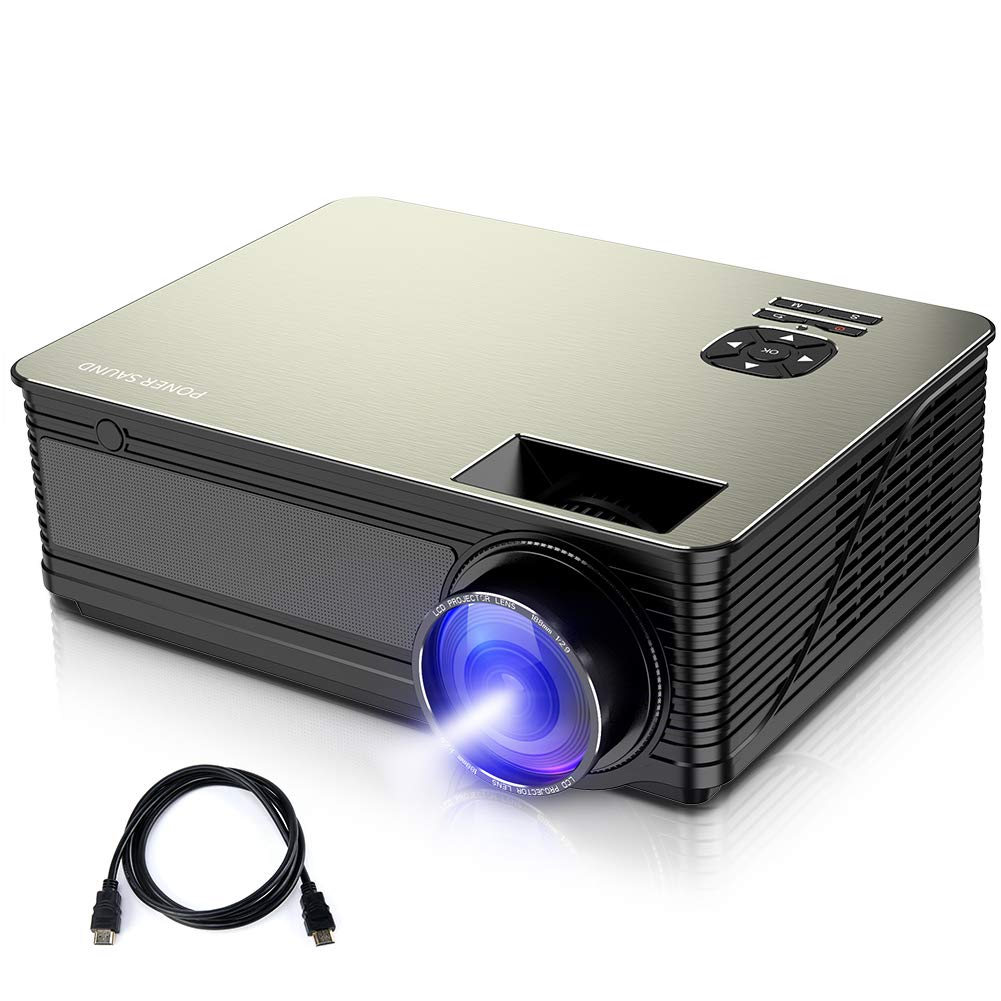2020 Updated 1080P Supported,4500 Lux 210 Display with 52,000 Hrs LED Movie Projector Compatible with Phone,Computer,Laptop,USB,HDMI,VGA,SD PONER SAUND Mini Projector