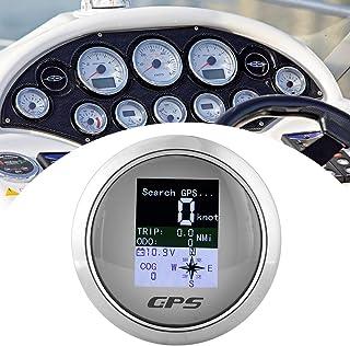GPS Tachometer Geschwindigkeitsmesser Kilometerzähler für Auto Boot 85mm(Weißes DialI)