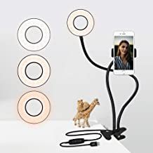 Selfie Ring Light with Stand & Phone Holder - Clip-on Desk Ring Light for Video Live Stream,3 Light Modes - White,Warm,Yellow