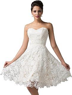 3ddedddf1de Femme Robe de Mariée Princesse Elégante Robe de Cérémonie avec Dentelle  Florale Robe de Soirée Wedding