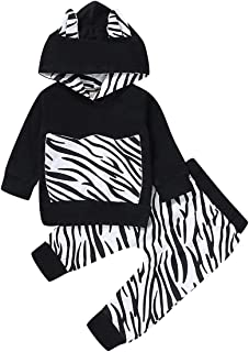 Kids Toddler Infant Baby Boys Girls Fall Outfit Zebra Hoodie Sweatshirt Jackets Shirt+Pants Winter Clothes Set