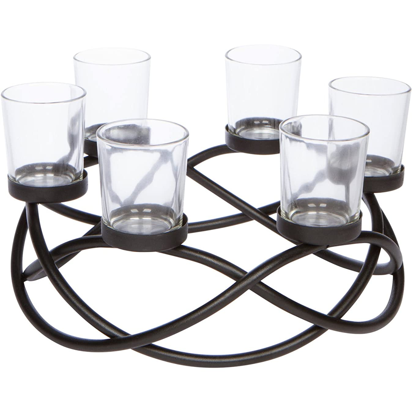 Seraphic Table Centerpiece Candle Holder, Decorative 6-Cup Circular, Iron