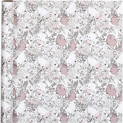 Inpakpapier, b: 70 cm, 80 gr, bruin, beige, wit, roze, bloemen, 4m