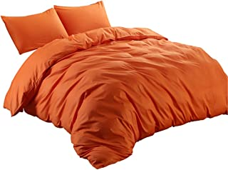 DREFEEL Egyptian Quality Vibrant Stone 100% Natural Cotton Orange Duvet Cover King Size 3 Pcs Set (1 Duvet Cover, 2 Pillowcase) - Soft Comforter Cover Quilt Case Hypoallergenic - Solid Bedding