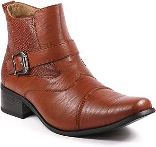 Metrocharm MET525-9 Men's Buckle Strap Western Cowboy Formal Dress Casual Fashion Boots (10.5, Brown)