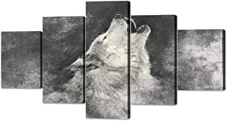 Yatsen Bridge Wolf Painting on Canvas 5 Piece, Grey Background Posters and Prints Wolves Pictures Wall Art for Modern Living Room Home Decor Wooden Framed Stretched Ready to Hang(60''W x 32''H)