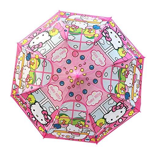 Paraguas Dibujos Animados Coches Pony Plegable Hook Niños Niños Niños Y Niñas Lindos Umbrellas Regalos Random (Color : Pink Cat Random)