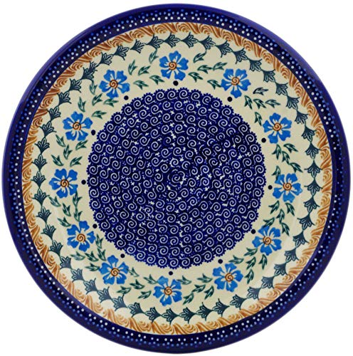 Polish Pottery 9¾-inch Lunch Plate (Blue Cornflower Theme) + Certificate of Authenticity