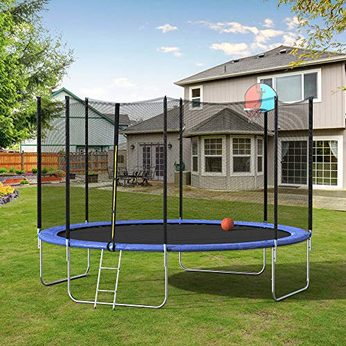 Binrrio 12 Feet Kid Trampoline with Safety Enclosure, Basketball Hoop and Ladder for Kids Adults Indoor Outdoor Trampoline for Summer Exercise