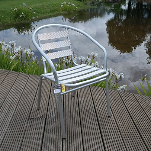 4x Aluminium Lightweight Chrome Bistro Chair Patio Garden Outdoor Silver