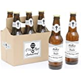 Brothers to Uncles - Pregnancy Announcement Decorations for Men - 6 Beer Bottle Label Stickers and 1 Carrier