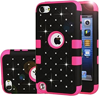 iPod Touch 5 Case,iPod Touch 6 Case,Auker Heavy Duty Shockproof Bling Mermaids Scales Dual Layer [Soft Silicon+Hard PC Shell] Hybrid Protective Case Cover for iPod Touch 5th/6th Generation (Black-R)
