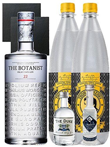 Gin-Set The Botanist Islay Dry Gin 0,7 Liter The Duke München Dry Gin 5 cl + Citadelle Gin aus Frankreich 5 cl + 2 x Thomas Henry Tonic Water 1,0 Liter + 2 Schieferuntersetzer quadratisch 9,5 cm
