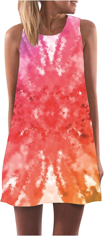 Toeava Mini Tank Dresses for Women, Summer Casual Floral Print Sleeveless Sundress Loose Boho Beach Short Mini Dress