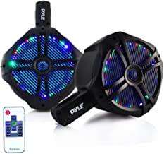 "Waterproof Marine Wakeboard Tower Speakers - 6.5"" Dual Subwoofer Speaker Set and 1.0"" Tweeters, LED Lights and 200 Watt Power - 2-Way Boat Audio System with Mounting Bracket - PLMRWB65LEB (Black)"