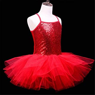 Beautiful Dance Skirt Kids Ballet Skirt Girls Dance Clothes Toddler Practice Clothes Costumes Suspenders Fashion (Color : Red, Size : Medium)
