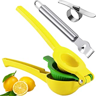 2 in 1 Lemon Juicer,Premium Metal Lemon Orange Lime Citrus Juicer,Hand-Held Metal Press,with Stainless Steel Orange Zester Peeler and Lemon Zester Grater OBSUGMU Lemon Squeezers