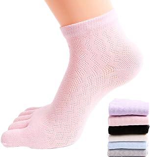 6 Pares de Calcetines de Mujer de Cinco Dedos de Algodón Suave Mezcla Casual Sport Calcetines de Malla