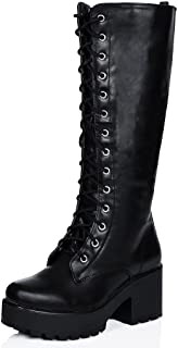 Best black cleated sole knee high boots Reviews