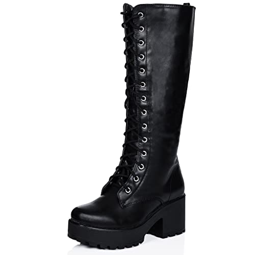 3f982e8c956 Spylovebuy JEDEYE Block Heel Cleated Sole Lace Up Platform Knee High Boots