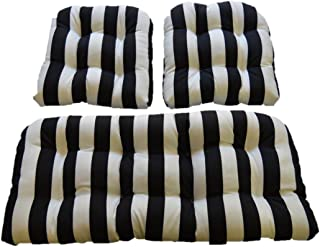 Resort Spa Home Decor Black & White Stripe Fabric Cushions for Wicker Loveseat Settee & 2 Matching Chair Cushions