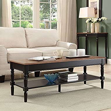Convenience Concepts French Country Coffee Table, Dark Walnut / Black