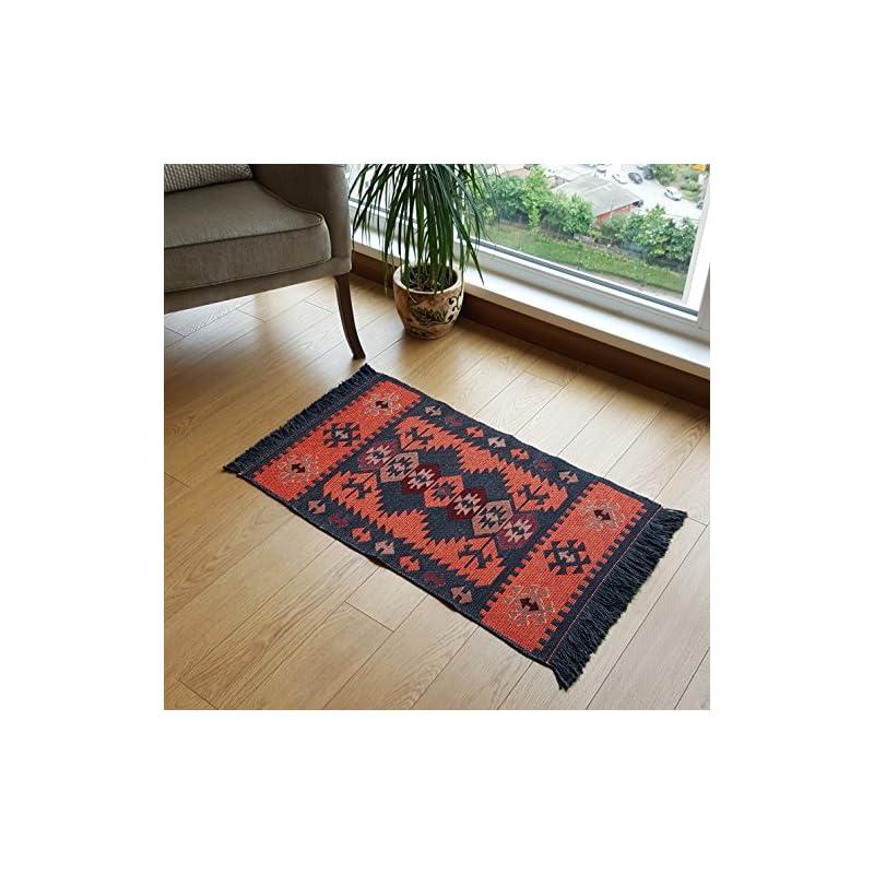 silk flower arrangements secret sea collection modern bohemian style small area rug, 2' x 3' ft, cotton, washable, reversible (charcoal grey-orange)