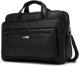 Leather Briefcase for Men Large Capacity 15.6 Inch Laptop Business Travel Shoulder Bag Black Fathers Day Gift