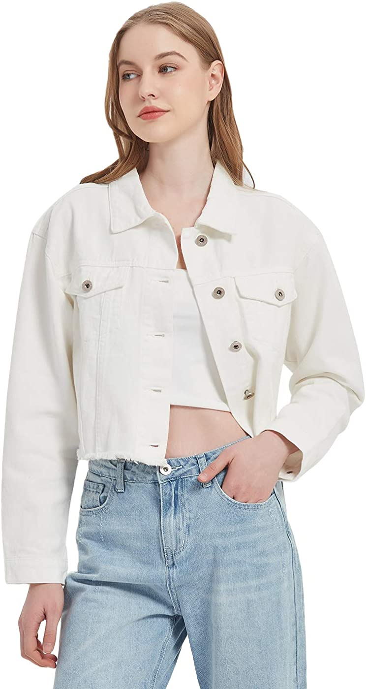 Anna-Kaci Cropped Denim Jean Jacket Long Sleeve