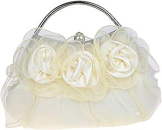 KAXIDY Damen Mädchen Clutch Abendtasche Abend-Hand Purse Blumen Satin Handtasche (Weiß)