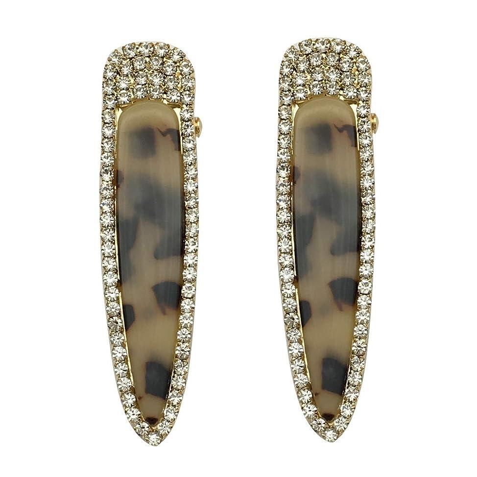 Earofcorn New Leopard Acrylic Simple Hair Pin Sweet Fashion Rhinestone Side Clip Bangs Clip One Word Clip(a Pairs Set) Gold mfqokffu981