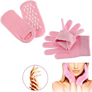 Gel Spa Sock and Glove Moisturizing for Soften Repairing Moisturizer Dry Cracked Hand Foot Skin Care Silicone inside–Pink