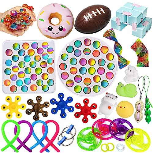 Fidget Sensory Toy Pack, Fidgets Popits Toys Set de Juguetes Sensorial Burbujas Antiestrés Simple Dimple Pop Bubble Fillet Fifget Figet Figettoy Toy Mochis Pelotas Box Niños Adultos Navidad Cumpleaños