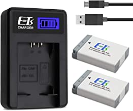 E-TS Canon NB-13L Battery Replacement 2 Packs and Battery Charger Compatible with Canon PowerShot G1 X Mark III G5 X G7 X G7 X Mark II G9 X G9X Mark II SX720 HS SX730 HS (Upgraded 1600mAh)