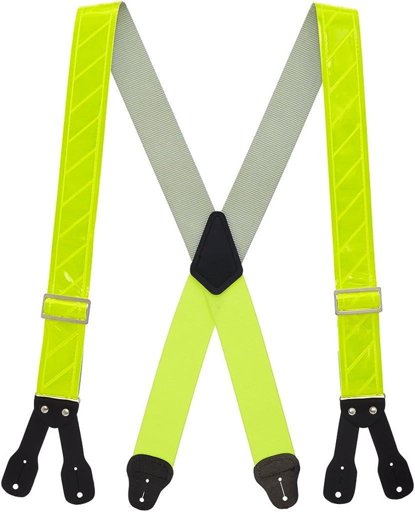 SuspenderStore Men's Reflective Logger Suspenders - BUTTON - 2 Inch Wide (4 Sizes) - LOW STRETCH