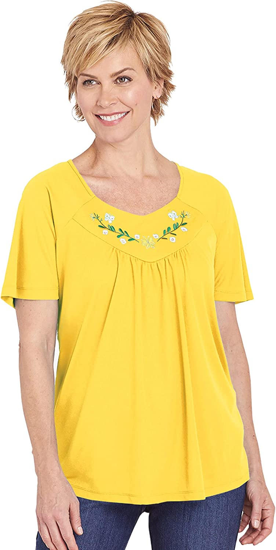 AmeriMark Women's Embroidered Top Loose Fit Short Flutter Sleeves Solid Color
