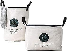 2Ppcs Large Laundry Basket Waterproof Foldable Laundry Hamper Bucket Cylindric Burlap Canvas Storage Basket with Handles L...