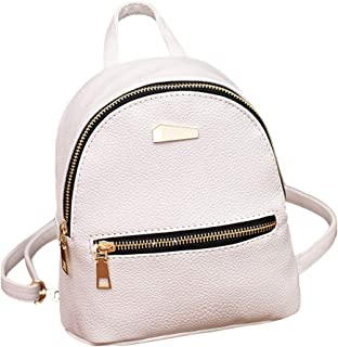 Wultia - New Designer Fashion Women Backpack Mini Soft Touch Multi-Function Small Backpack Female Ladies Shoulder Bag Girl Purse #P White