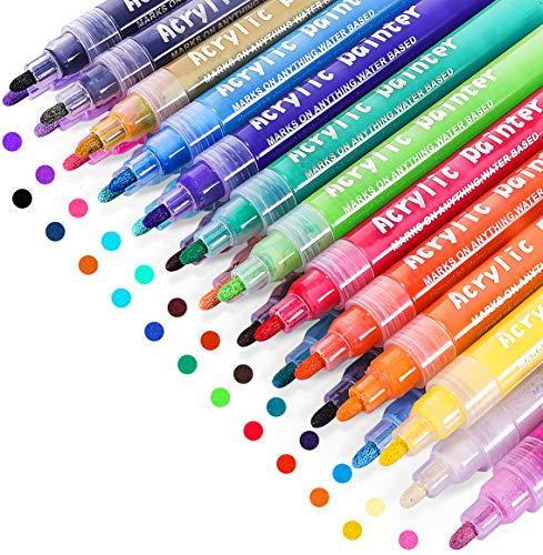 Acrylic Paint Marker Pens, Emooqi 24 Colors Premium Waterproof Permanent Paint Art Marker Pen Set for Rock Painting, DIY Craft Projects, Ceramic, Glass, Canvas, Mug, Metal, Wood, Easter Egg