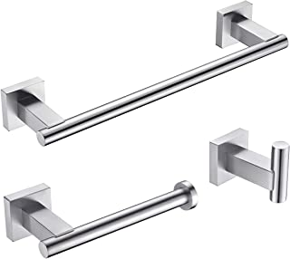 """KLXHOME 3-Piece Bathroom Accessories Set Bath Hardware Kit Brushed Stainless Steel Wall Mount - Includes 12"""" Hand Towel Ba..."""
