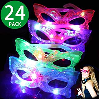 2020 Light Up Glasses ,24 Pack 4 Color Light Up Plastic Butterfly Shutter Shades Glasses LED Sunglasses for Kids and Adults in the Dark Party Favors, Halloween Rave Party Favors Supplies Glow Toys