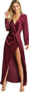 Verdusa Women's Satin Long Sleeve V Neck Collar Twist Wrap Maxi Dress