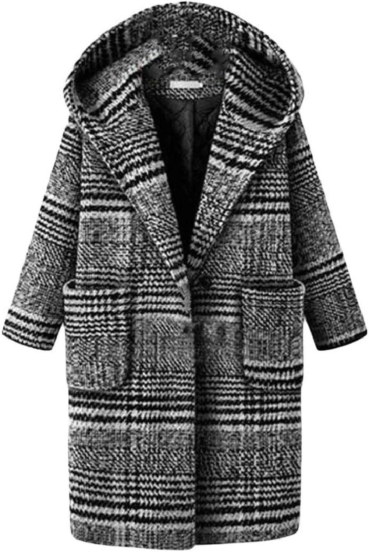 WopopCA Women's Plaid Overcoat One Button WoolBlend Plus Size Hooded Pea Coat