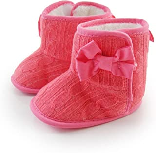 Itaar Toddler Infant Antiskid Bow Crochet Warm Soft Comfortable Prewalkers Winter Crib Shoes